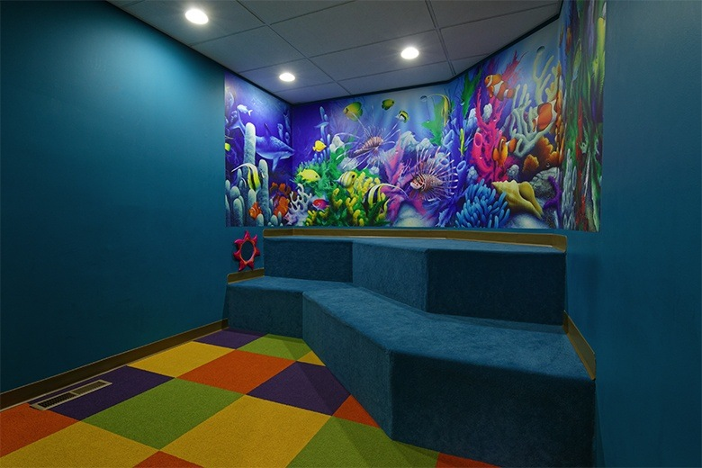 Kid friendly sea themed waiting area