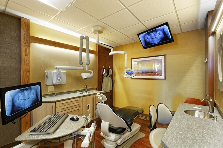 High tech dental exam room